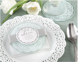 Wholesale Glass Party Favor Coasters - Lace Exquisite Frosted Glass Coasters Set of 2 wedding favors and gifts 100Set Lot= 200PCS Free shipping #HT01