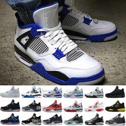 Wholesale Flocked Fabric - 2017 Cheap Sale New Retro 4 IV Basketball Shoes Sports Sneakers Men Retros 4s Zapatillas Authentic BLACK MOTORSPORT GAME ROYAL BLUE shoes