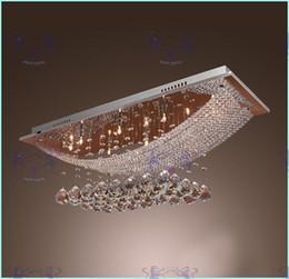 Candelabros para salas de reuniones online-8 luces Lámpara de cristal Accesorio de luz Rectángulo Cristal transparente Lámpara de lustre Lámpara de techo Bombillas G4 Lámpara de araña para comedor Sala de reunión