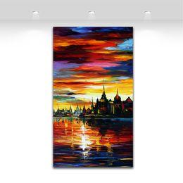 Serra de óleo on-line-Eu vi um sonho - pintura a óleo da paisagem de Sunsise da faca de Palette impressa na lona pelo artista