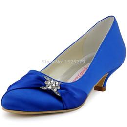 Wholesale Satin Almond Toe Pumps - Wholesale-Multi-colors EP2006L Women Blue Bridal Party Low Heel Pumps Almond Toe Wrap Satin Rhinestones Wedding Shoes EU34-43