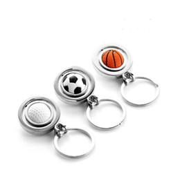 Wholesale Golf Key Chains - 2015 Basketball Football Golf Keychain Men Mini Simulation Rotatable Ball Key Chains chain key rings keyring novelty promotion gift