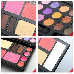 Wholesale Eyeshadow Blush Lip Gloss - Free Shipping Eyebrow Cream Powder Cake Lip Gloss Cheek Blush Eyeshadow Make Up Kit Combo K5BO