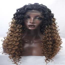 Wholesale Long Curly Beautiful Wigs - lace front wigs beautiful new woman with a long black blonde wig Mixed color Curly hair African American fashion wig Popular items kabell
