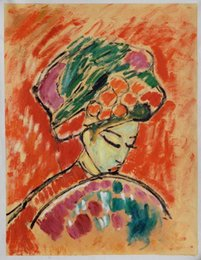 Wholesale Young Girl Oil Paint - Free Shipping Young Girl with a Flowered Hat by Alexey von Jawlensky, Modern Living Room Decorative Painting Home H-0401