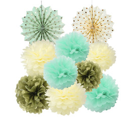 Wholesale Artificial Tissues - Pack Of 10 Paper Decoration Set Tissue Paper Fans Pom Poms For Wedding Birthday Party Nursery Baby Showers Garden Space Decor