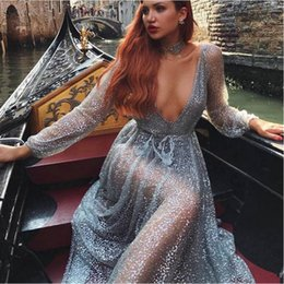Wholesale Mesh Dress Rhinestones - Silver Sexy Party Dresses 2018 Hot Drilling Sequined Sexy Dress Women Mesh Overlay Maxi Dress Summer Backless Long Sleeve V Collar Dress