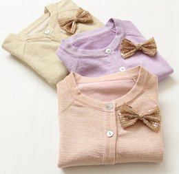 Wholesale Pink Sequin Sweater - Cardigan Girl Sweater Girls Clothes 2015 Spring Bow Sequin Knits Tops Kids Clothing Embroidery Knit Outwear Golden Purple Pink I2835
