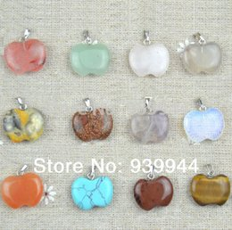Wholesale Crystal Apple Necklace - Free Shipping,wholesale 12PCS apple natural crystal pendant, Good Quality!Charms fit Necklaces jewelry making