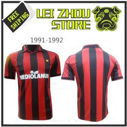 Wholesale Milan Retro - 1990 - 1991 AC MILAN Jersey Retro shirts home Gullit Ancelotti SOCCER JERSEY 90 91 Tassotti Maldini Baresi Van Basten Rijkaard football