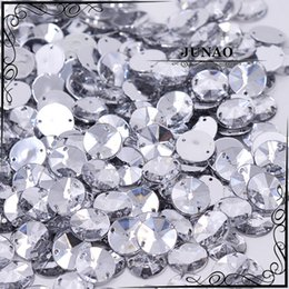 Wholesale Strass Crystal Dresses - Wholesale-10mm Clear Crystal Rivoli Rhinestone Sew On Flatback Acrylic Gems Round Strass Crystal Stones For Clothing Dress Decorations