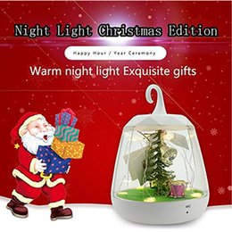 Wholesale Table Led Christmas Tree - Christmas Night Light Decoration Voice Control Festival Party Gift LED Charge Sensor Light Table Lamp Christmas Tree With Plants HH7-282