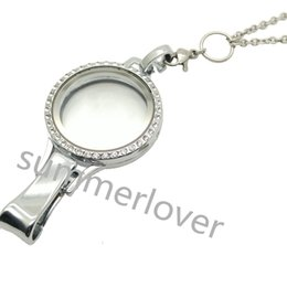 Wholesale Rhinestone Id Badge Holders - Stainless Steel Floating Glass Locket Charm Lanyard With ID Badge Holder Key chain Id Name Card Holder With 30 inch Chain