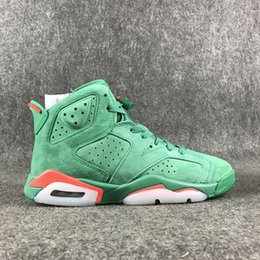 Wholesale Genuine Suede Jacket - new (Original box) Air Retros 6 Flight Jacket Saturday Night Live suede Wheat men basketball shoes green Gatorade sports sneakers trainers
