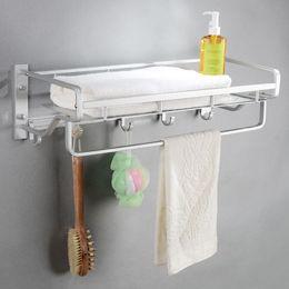 Wholesale Towel Bar Baskets - Space Aluminum Basket Towel Rack Towel Bar With Hooks Copper Towel Shelf