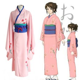 Wholesale Japanese Traditional Game - Anime Gintama Cosplay Shimura Tae Costume Japanese Traditional Clothes Pink Kimono