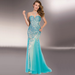 Wholesale Gorgeous Sweetheart Bling - Gorgeous 2015 Evening Dresses Bling Bling Rhinstons Mermaid Prom Gowns Sweetheart Sexy Sheer Back Tulle Tiffan Blue Prom Dresses Customed