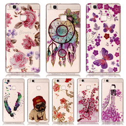 Wholesale Huawei Silicone Case - For Huawei P9 Lite Case IMD Bling Flower Dog Print Silicone Phone Case For Huawei P8 Lite 2017 P10 Lite Case Cover