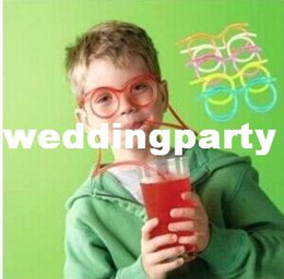 Wholesale Thanksgiving Drinking Straws - Free Shipping 500pcs lot Novelty items Amazing Silly multi-colors Glasses funny drinking straw glasses Frames for party favor