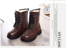 Wholesale Waterproof Black Shoes For Girls - 2015 children's snow boots boys girls genuine leather spring autumn boots waterproof for kids warm shoes chidlren winter boots