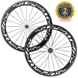 Wholesale 24 Inch Road Wheel Set - Superteam 60mm Fiber Carbon Wheelset 23mm Width 3K Road Bicycle Wheels With Powerway R13 Hub Free Shipping