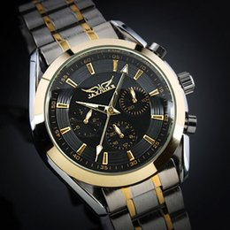 Wholesale Jaragar Black Dial - Jaragar Fashion brand Men's black Dial Golden Case Elegant 6 Hands Multifunction Automatic Mechanical Watch