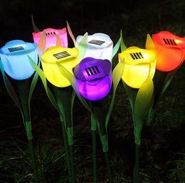 Wholesale Garden Solar Flower Lights - 10pcs 7colors Solar Powered Tulip flower light Outdoor Yard Garden Path Way Solar Power LED Tulip flower Decoration solar lights