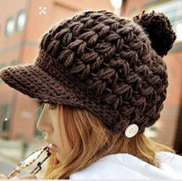 Wholesale Womens Beige Beanie - Wholesale-Wholesale Fashion New 2015 Cute Pompon Brim Caps Womens Winter Hats Ladies Knit Hats Fitted Brown Crochet Skullcap Knitting Caps