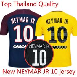 Wholesale Man Uniforms - NEYMAR JR 10 MBAPPE CAVANI DI MARIA VERRATTI DANI ALVES Shirt Home blue Away Third black 17 18 Soccer Jerseys Football Uniforms Kit