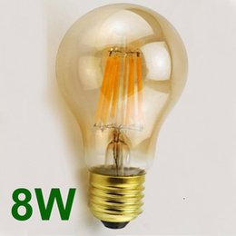 Wholesale A19 E26 8w - Retro Cranberry Glass Filament Bulbs A60 2W 4W 6W 8W E27 E26 B22 110V 220V A19 COB Dimmable Energy Saving Vintage Edison Bulbs