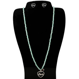 Wholesale Heart Shaped Necklaces For Girls - TL Natural Green Stone Bear Necklace Jewelry Gold Silver Filled Heart Shaped Pendant Jewelry Set For Women