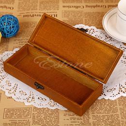 Atacado-New Retro Madeira De Madeira Torre Eiffel impressão Pen Lápis Case Holder Stationery Box Storage de