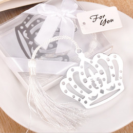 Wholesale Party Supplies Crowns - 20pcs Silver Stainless Steel White Tassels Crown Bookmark For Wedding Baby Shower Party Birthday Favor Gift Souvenirs