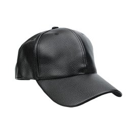 Wholesale Wide Brim Baseball Cap - S5Q PU Leather Baseball Cap Outdoor Sports Spring Hats For Men And Women Hats AAAFUO