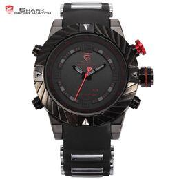 Wholesale Swirl Watch - New Swirl Bezel Shark Tooth Sport Racing 3ATM Digital Waterproof Wrap Silicone Strap Black Red Fashion Men Casual Watch   SH166