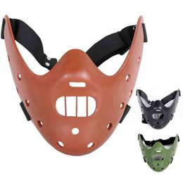 Wholesale Mask Lambs - The Silence of the Lambs Hannibal Film Mask Half Face Resin Cosplay Props Halloween Mask Cage Cosplay Party Costume Decoration SD321