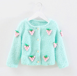 Wholesale Autumn Outfits Wool - The new 2015 autumn outfit children han edition lambs wool stereo small grape fruit coat tide cute cardigan of the girls BH1210