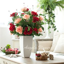 """Wholesale Head Married - Hot sale 5 color Artificial High quality real look Silk 3 head rose Flowers 76cm 30"""" Decoration birthday romantic marry wedding surprise"""