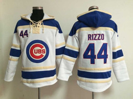 Wholesale Cheap Windproof Fleece - Chicago Cubs #44 Anthony Rizzo Hoodie Lace Up Pullover Hooded Sweatshirt Cheap Baseball Jackets Warm Sweaters Stitched Name and Number