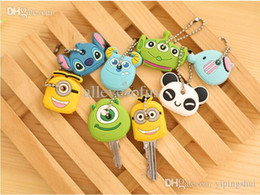 Wholesale Steel Phone Cases - Wholesale-Novelty Kawaii Cute Cartoon Animal Minions Silicone Key Caps Covers Phone Accessories Keychain Case Shell