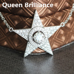 Wholesale Tests Grow - 0.5 ct 5mm No Less Than GH Color Five-Pointed Star Shaped Lab Grown Moissanite Diamond Pendant Halo Necklace Test Positive q171026