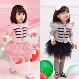 skirt style coats Promo Codes - Girls Baby Suits Cotton Stripe Coat+Gauze Skirt 2 Piece Sets Girl Dress Outfit E138