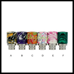 Wholesale Drip Tips Jade - 2016 Jade Stone Drip tip Epoxy Resin Metal 510 Drip Tips Short Drip Tip for RDA RBA Atomizer Vape Colorful Wide Bore Mouthpiece