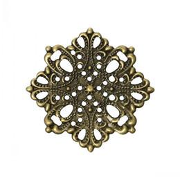 """Wholesale Wholesale Bronze Filigree - Jewelry Findings Embellishments Findings Filigree Wraps Connectors Flower Antique Bronze 4.4cm x 4.4cm(1 6 8"""" x1 6 8""""),100 PCs"""