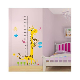 Wholesale Height Measurement Stickers - 1.8m Tall Giraffe Growth Charts Height Measurement Adesivo Wall Stickers For Kids Bedrooms Papel de Parede Infantil