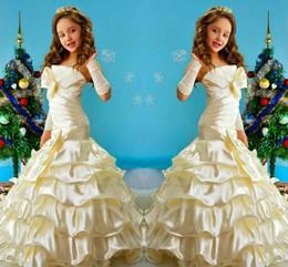 Wholesale Little Mermaid Ball Gown - Hot ! New Mermaid Flower Girls Dresses For Weddings 2015 Strapless Layers Ruffles Pleats Satin Toddler Glitz Little Girl Pageant Dress Gowns