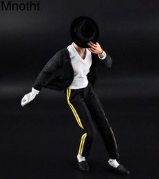 Wholesale Action Jackson - Mnotht 1 6 Michael Jackson Dance Costume With Hat+ White T Shirt +Black Coat+Pants+Shoes+Gloves for 12in Action Figure Toys l3