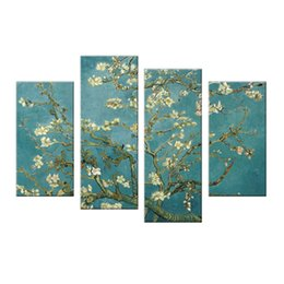 4 Panels Almond Blossom Painting Van Gogh's Wall Art Flower Picture Print con cornice in legno per la casa Living Room Decor da
