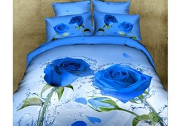 Wholesale Cheap Orange Bedding - 2015 Vivid Water Beautiful Rose Print 4-Piece Duvet Cover Bedding Sets 100% Cotton Free Shipping Cheap High Quality Beading Suppliers