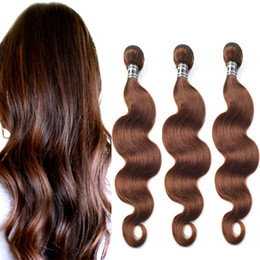 Wholesale Indian Chocolate Human Hair - Chocolate Brown Brazilian Hair Extensions 100% Certified Human Hair Weft 3 Pieces Medium Brown Brazilian Body Wave Hair Weaving